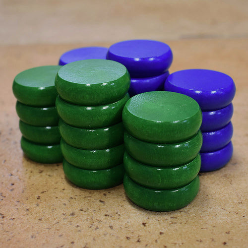 26 Tournament Size Crokinole Discs (Blue & Green)