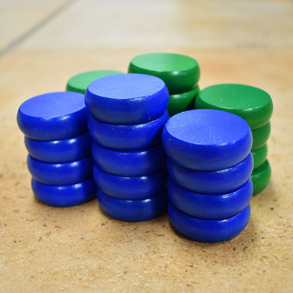 26 Traditional Size Crokinole Discs (Blue & Green)
