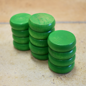 13 Green Traditional Size Crokinole Discs (Half Set) - DISCOUNTED