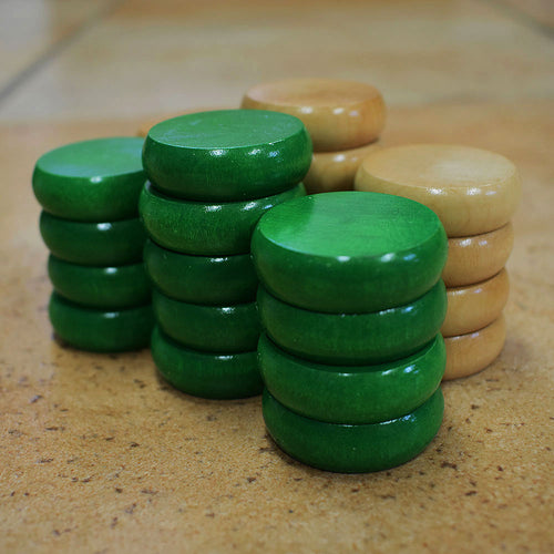 26 Tournament Size Crokinole Discs (Natural & Green)