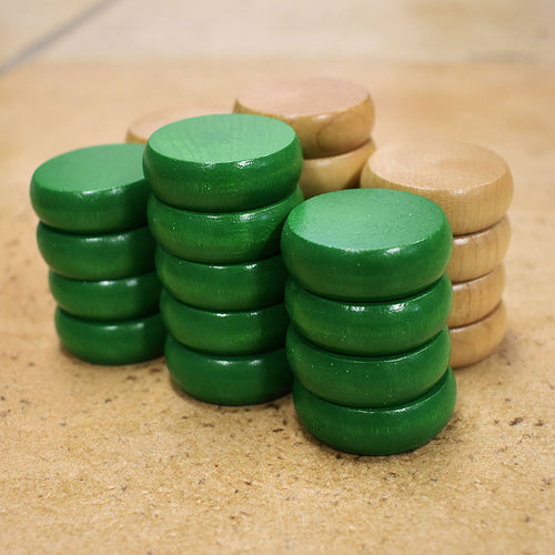 26 Traditional Size Crokinole Discs (Natural & Green)