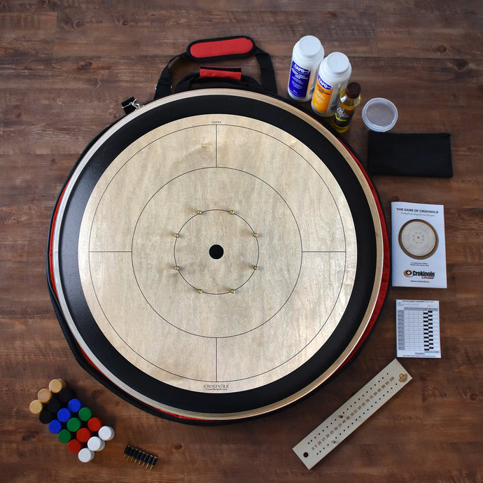 The Championship Crokinole Board Game Kit - Gray Rock Stained Surface & Painted Ditch