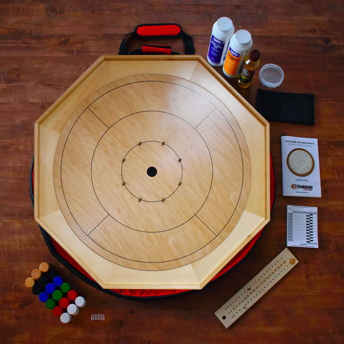 The Heritage Crokinole Board Game Kit - All Natural Wood Color - No Stain