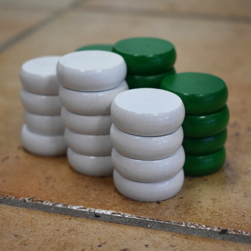26 Traditional Size Crokinole Discs (White & Green)