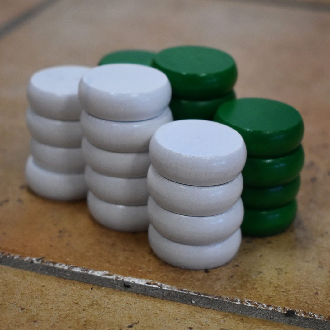26 Tournament Size Crokinole Discs (White & Green)
