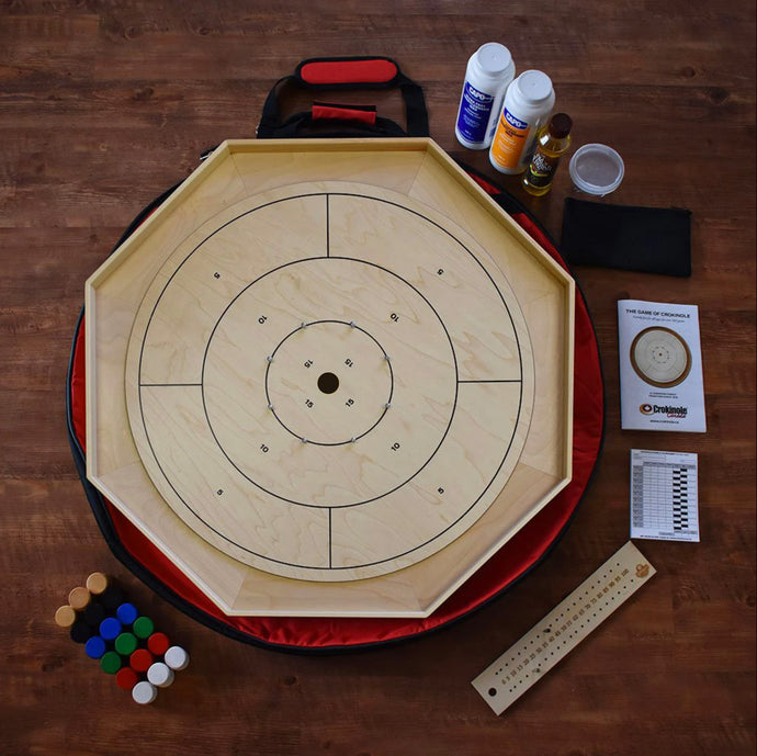 The Classic Crokinole Board Game Kit - Point Numbers on Front & Checkers On Back
