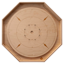 Load image into Gallery viewer, The Crokinole Master - Tournament Size Crokinole Board Game Set - Point Trackers in Ditch & Disc Storage Unit in Back - Laser Engraved Lines & Point Numbers - Russian Birch