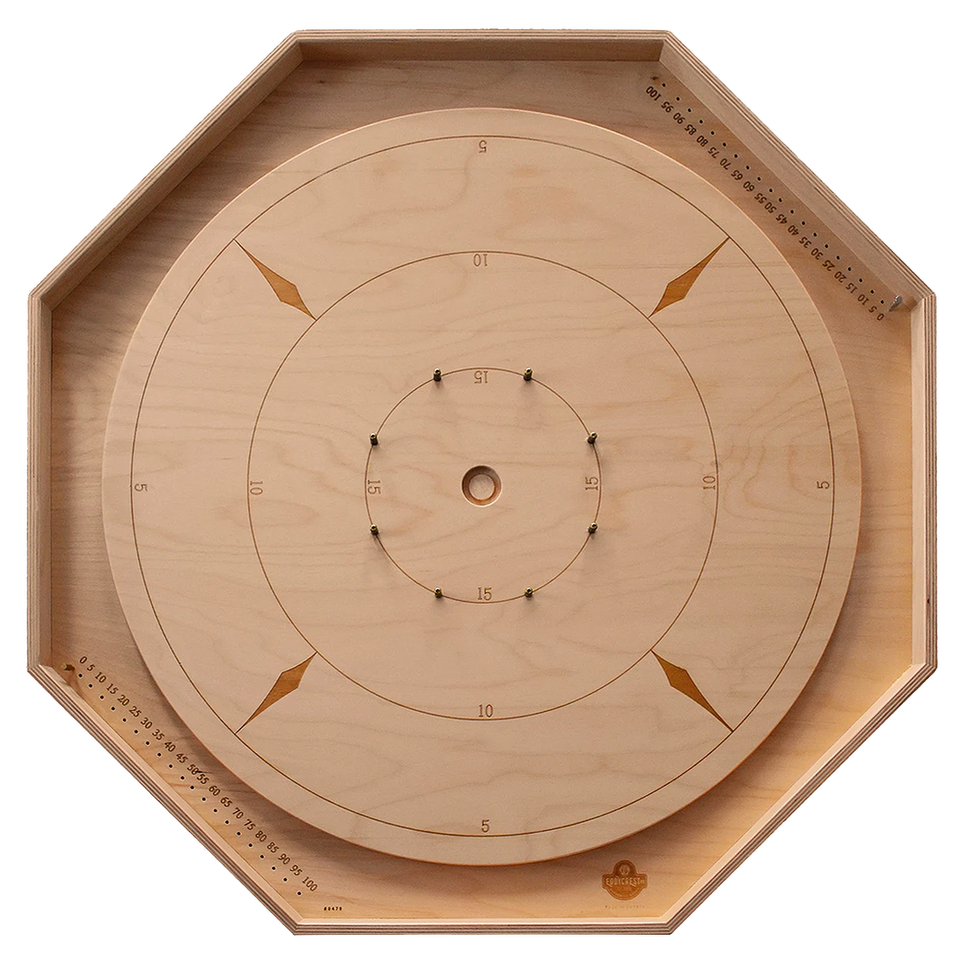 The Crokinole Master - Tournament Size Crokinole Board Game Set - Point Trackers in Ditch & Disc Storage Unit in Back - Laser Engraved Lines & Point Numbers - Russian Birch