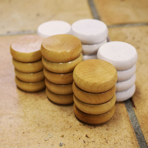 26 Tournament Size Crokinole Discs (Natural & White)