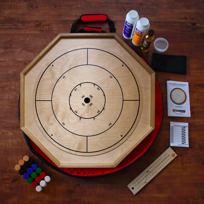 The Gold Standard Crokinole Board Game Kit - Point Numbers & Checkers On Back - Ash Rails