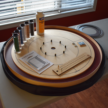Load image into Gallery viewer, Premium Crokinole Board Game Kit - The Royal Red - Dark Burgundy Stained Ditch