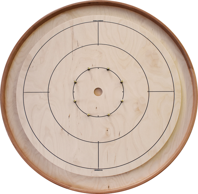 The Pioneer Board - Tournament Crokinole Board Game Set (Solid Cherry Rails)