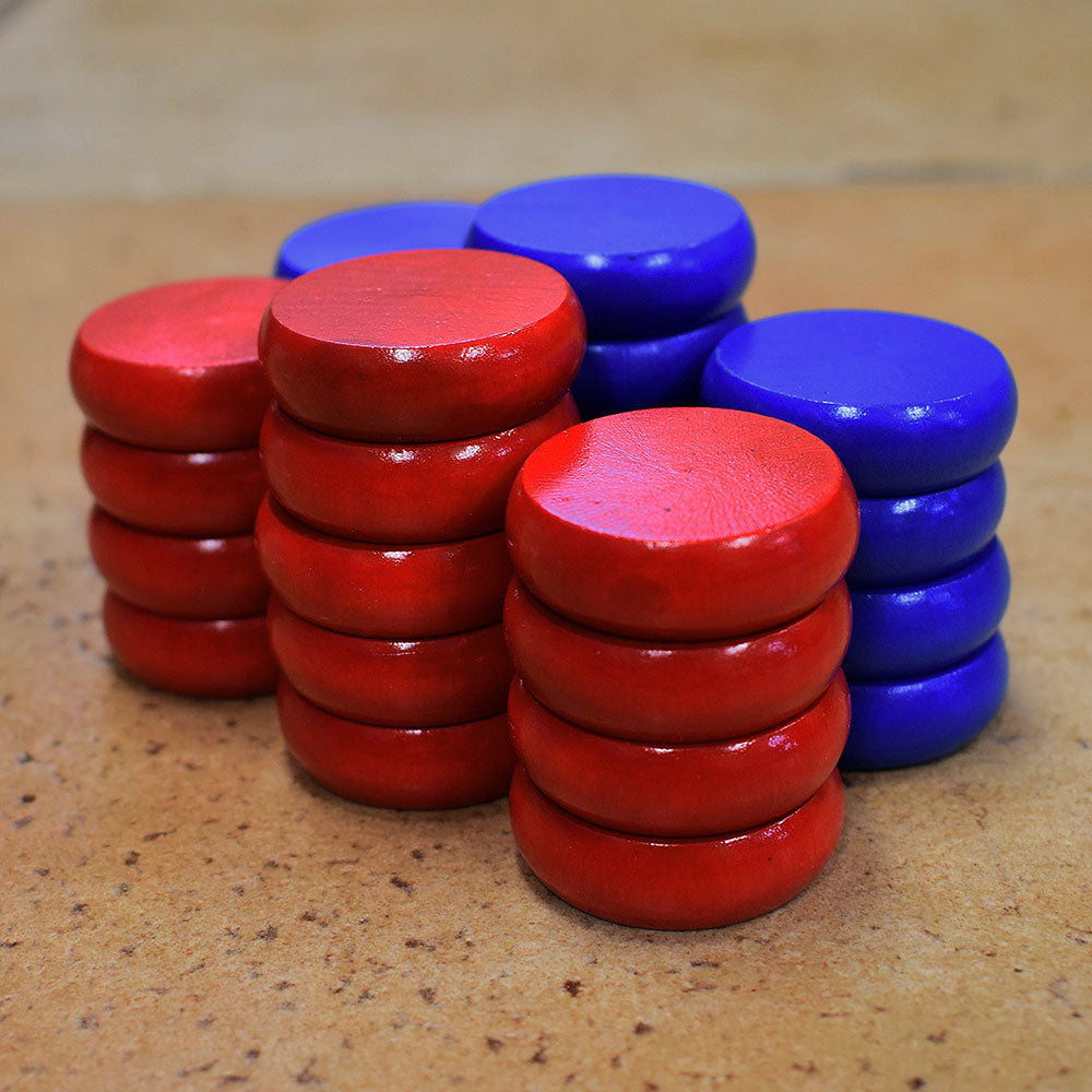 26 Crokinole Discs (Red & Blue)