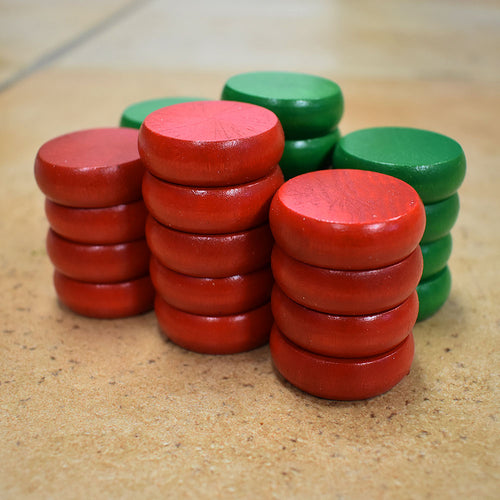 26 Traditional Size Crokinole Discs (Red & Green)