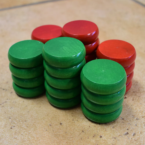 26 Crokinole Discs (Red & Green)