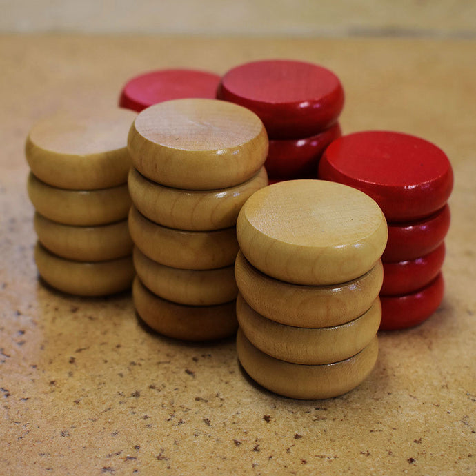26 Crokinole Discs (Natural & Red)