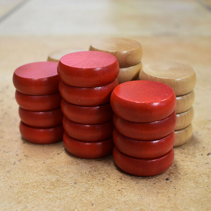 26 Traditional Size Crokinole Discs (Natural & Red)