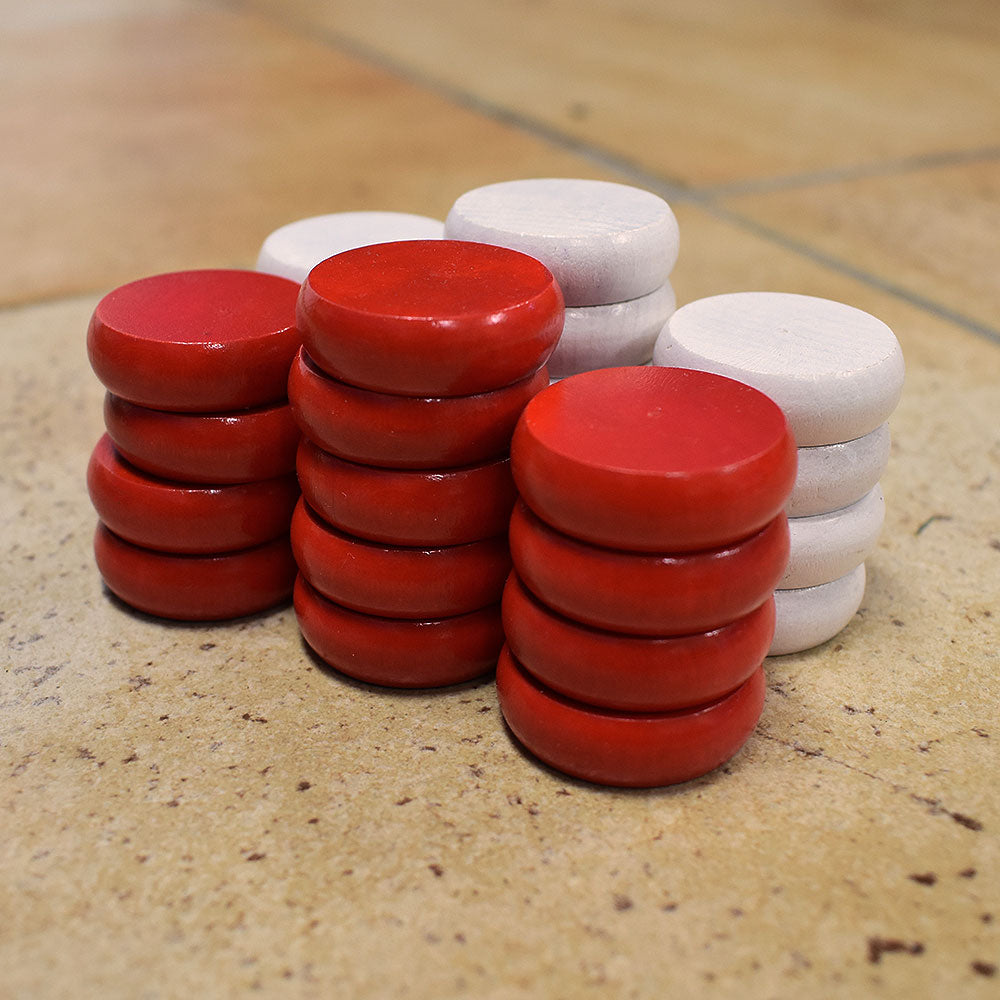 26 Tournament Size Crokinole Discs (Red & White)