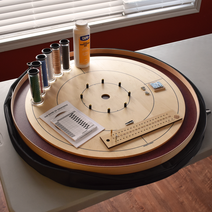 Premium Crokinole Board Game Kit - The Royal Red - Dark Burgundy Stained Ditch