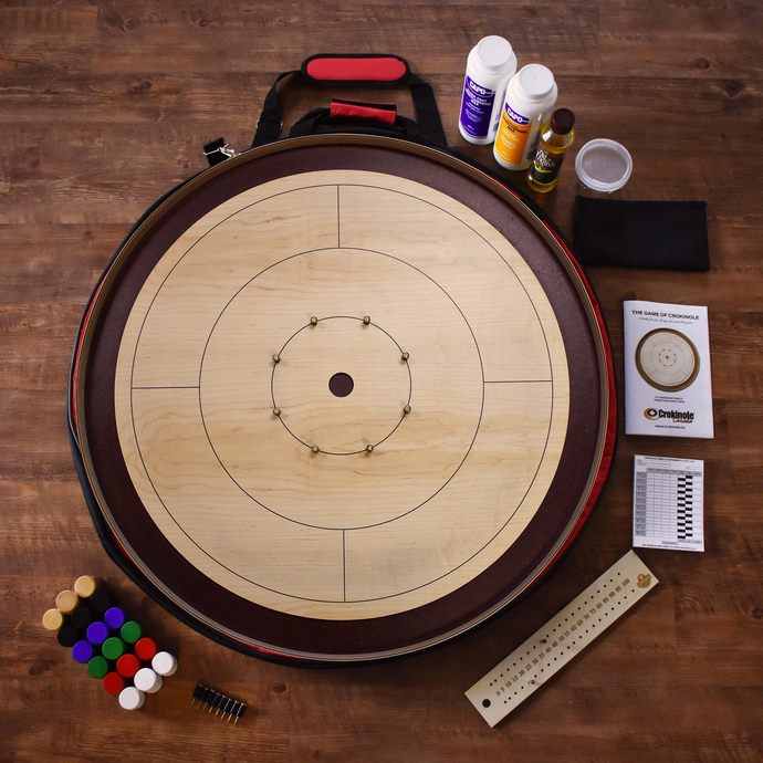 The Royal Red Tournament Crokinole Board Game Kit - Dark Burgundy Stained Ditch