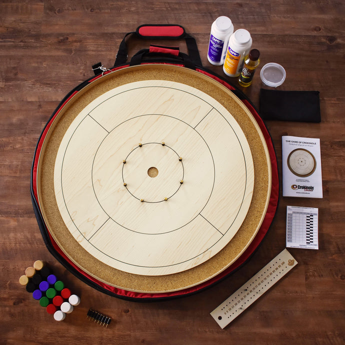 The World Famous Crokinole Board Game Kit - Natural Wood Color - No Stain on Ditch or Surface