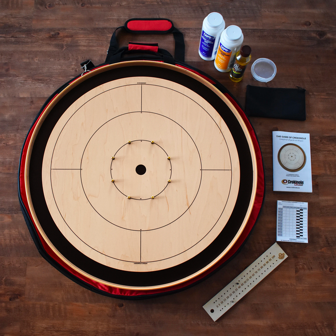 The Crokinole Canada Tournament Board Game Kit - Point Numbers on Front & Checkers on Back - Smooth Painted Black Ditch & Back