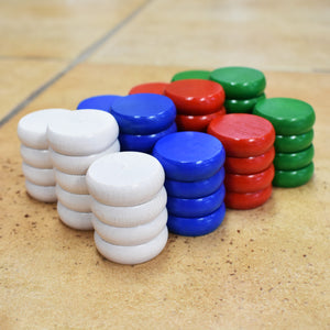 4 Player Tournament Size Crokinole Disc Party Pack (52 Discs)