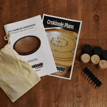 Load image into Gallery viewer, Crokinole Canada Crokinole Board Pattern 8 Brass Screws with Rubber Latex / 26 Black and Natural Wood Traditional Size Discs (Pouch Included) Traditional Size Crokinole Board Plans