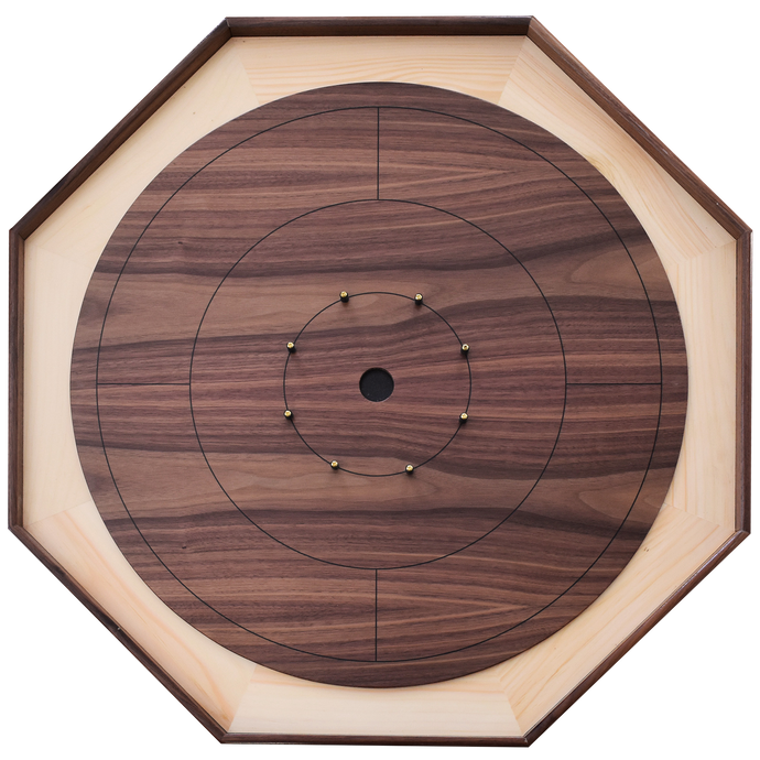 The Walnut Wonder - Traditional Size Crokinole Board Game Set - Veneered Walnut Surface & Walnut Rails