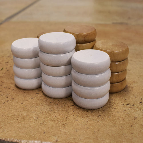 26 Traditional Size Crokinole Discs (Natural & White)