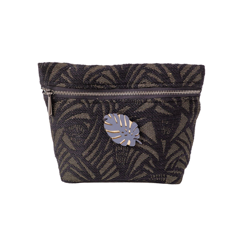 Alexa Pouch | Black Leaf Woven Tropical Leaf - KOKU Concept