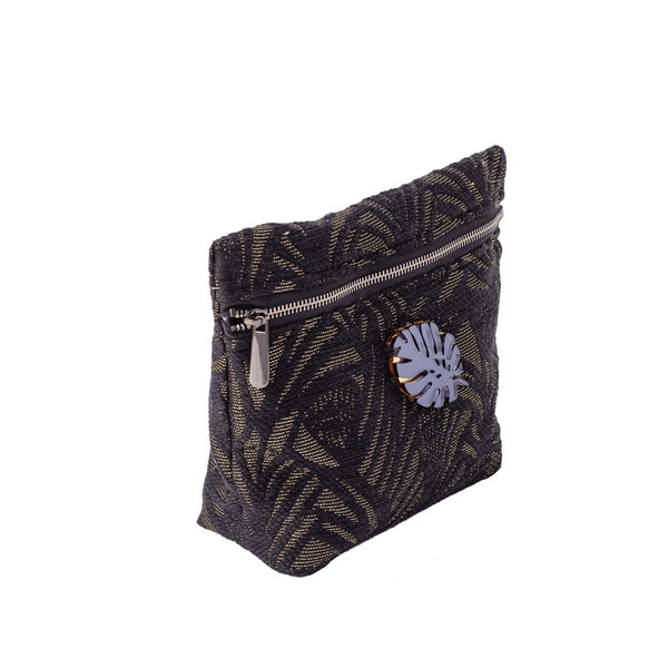 Alexa Pouch | Black Leaf Woven Tropical Leaf