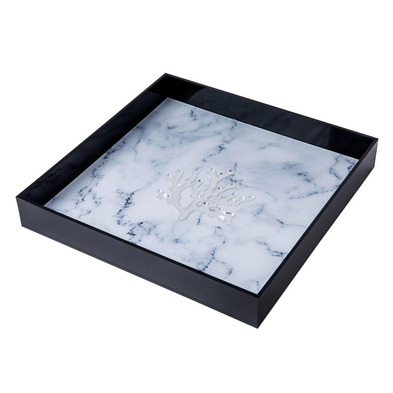 ALICIA Tray | Marble Coral Clear