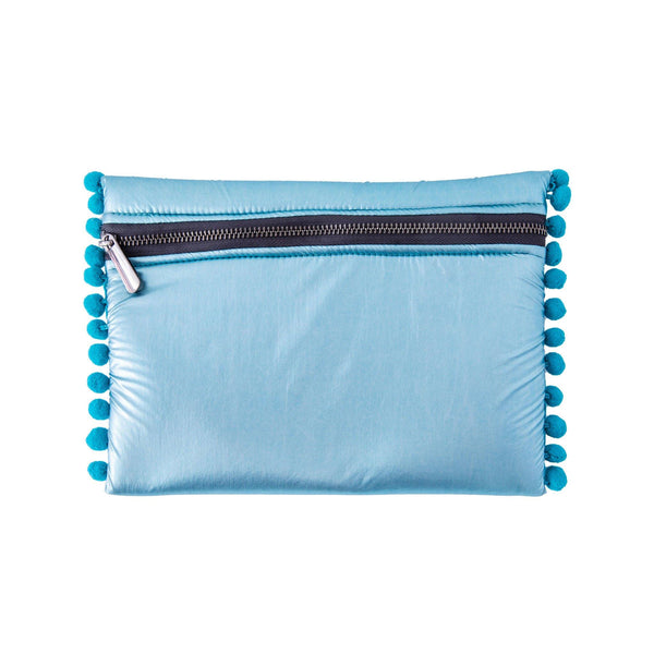 Aliki Pochette | Teal Pillow Pom Poms