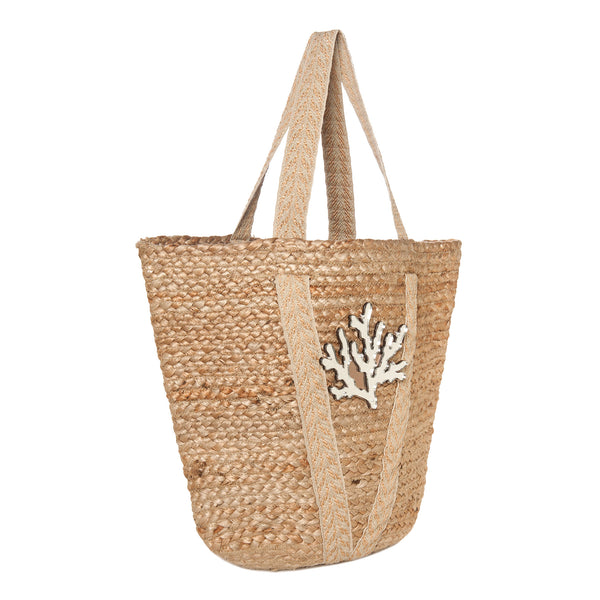 straw beach bag spring summer collection 2021 acrylic motif coral-KOKU CONCEPT