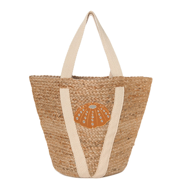 straw beach bag spring summer collection 2021 acrylic motif sea urchin-KOKU CONCEPT