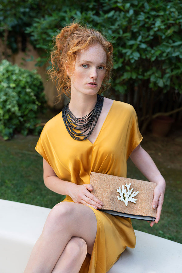 Cork clutch with acrylic motif spring summer collection 2021 -KOKU CONCEPT