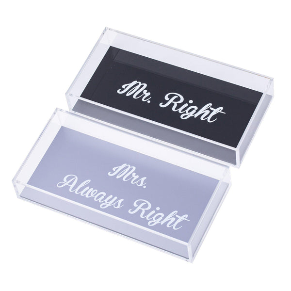 "ANESA Trays Set ""Mr Right& Mrs Always Right"""