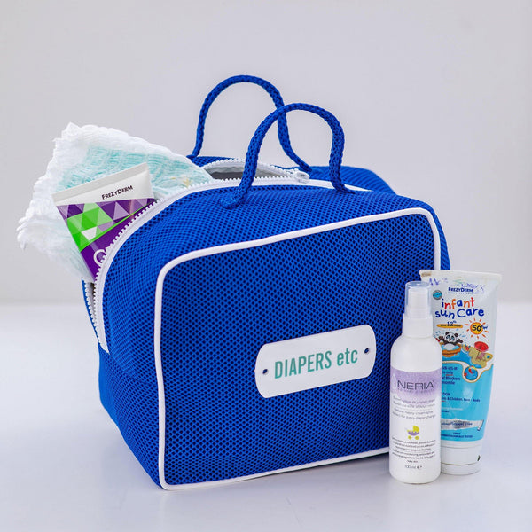 blue diaper bag waterproof travel