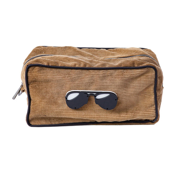 Boo Toiletry bag  | Mocha Corduroy Glasses