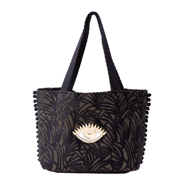 Chloe Tote bag | Black Leaf Woven Evil Eye