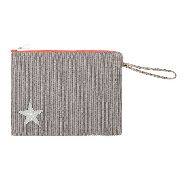 CHRISTINA Pouch | Grey Raffia Starfish