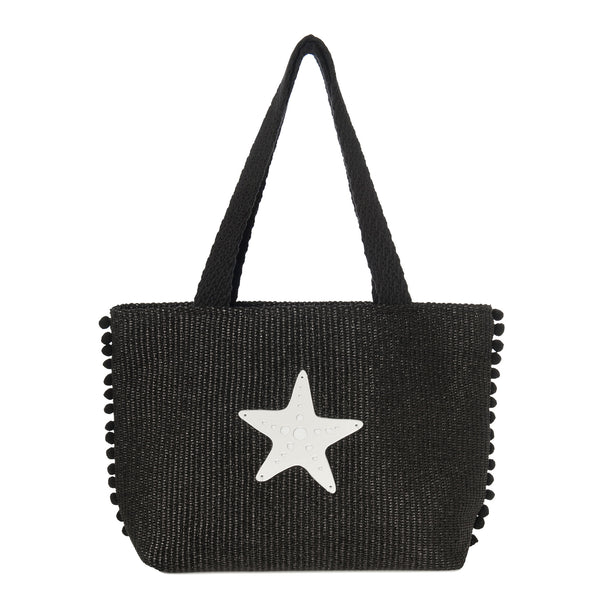CLOE Tote Bag | Black Raffia Starfish