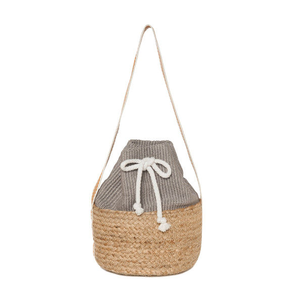 Grey raffia straw bucket bag spring summer collection 2021 -KOKU CONCEPT