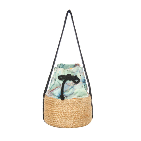 Printed straw bucket bag spring summer collection 2021 -KOKU CONCEPT