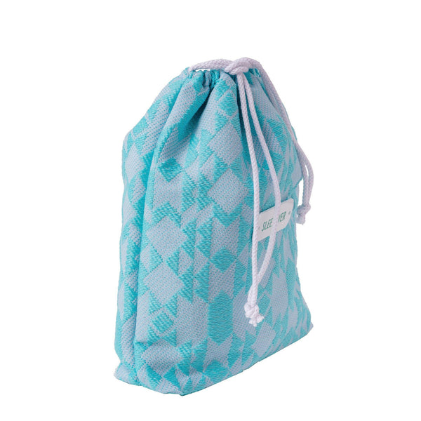 aqua drawstring storage pouch kids