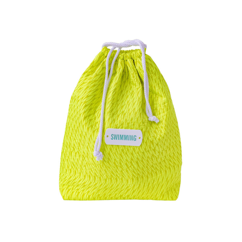 yellow fluo drawstring storage pouch bathing suits travel