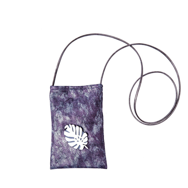 Ev Mobile Pouch | Silver Purple Wash Tropical Leaf