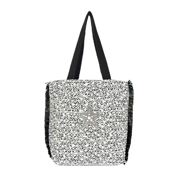 black and white tote bag waterproof spring summer collection 2021 acrylic motif-KOKU CONCEPT