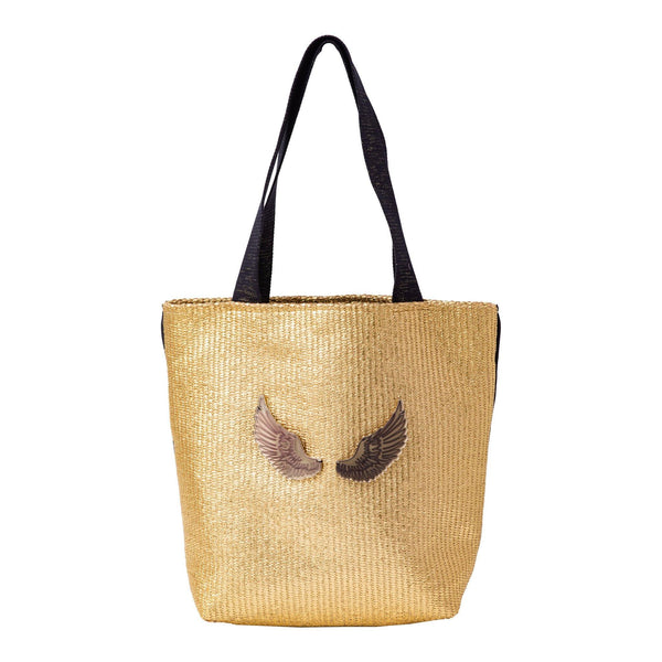 Fay Tote bag small  | Gold Raffia Wings